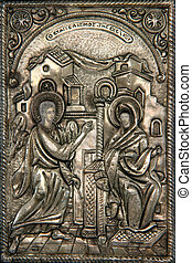 greek byzantine silver icon religius concepts Virgin Mary announced�by the angel that is going to birth the sun of god