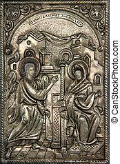byzantine icon - greek byzantine silver icon religius...
