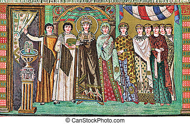 Byzantine mosaic, year 547, representing empress Theodora, solemn and formal, with golden halo, crown and jewels, and a train of court ladies. the panel is visible in Basilica of San Vitale, the most famous monument of Ravenna, Italy and one of the most important examples of Byzantine Art and ...