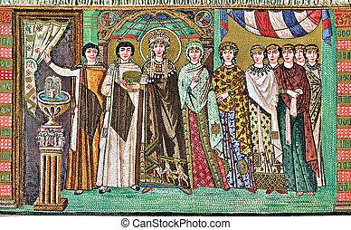 Byzantine mosaic: empress Theodora and a train of court...