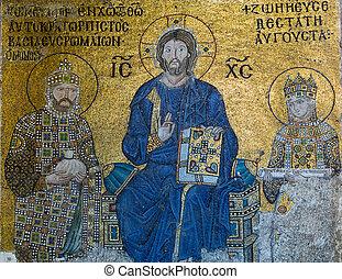Byzantine mosaic in the interior of Hagia Sophia in...