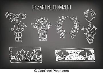 Byzantine Ornament Painted White Chalk on a Blackboard,...