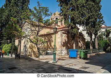 Byzantine Orthodox church in Athens, Greece. Religion.