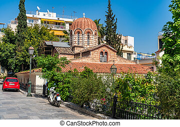 Byzantine Orthodox church in Athens, Greesce. Religion....