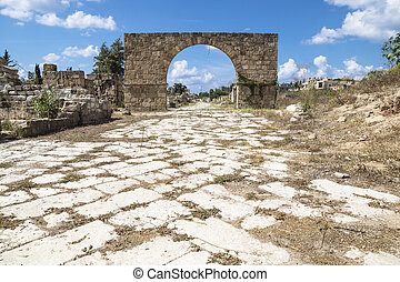 Byzantine road with triumph arch in ruins of Tyre, Lebanon