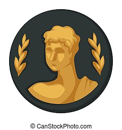 Julius Caesar gold portrait and olive branches isolated...