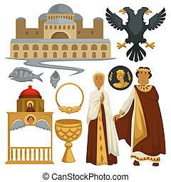 byzantium, histoire, symboles, héraldique, architecture, et, religion, empereur