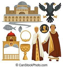 byzantium, történelem, jelkép, címertan, építészet, és, vallás, császár