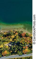 bzučet, jezero, photo., ulice, autumn les, hlava, rána, názor, snížit se, barvitý, stěna