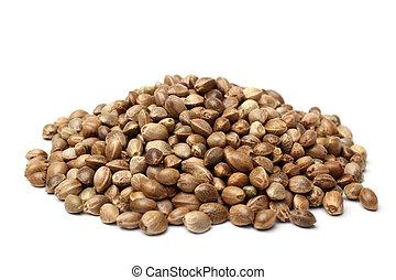 cáñamo, semillas, montón