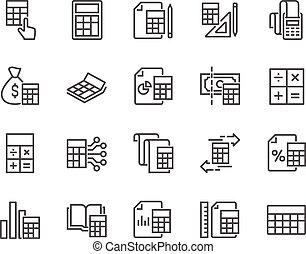 cálculo, linha, ícones