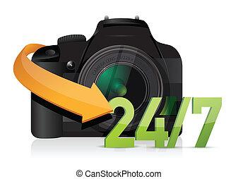 cámara, 24, para, 7, servicio, apoyo