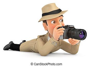 cámara, abajo, 3d, acostado, detective
