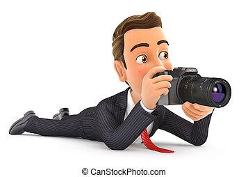 cámara, abajo, hombre de negocios, 3d, acostado