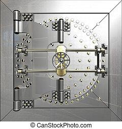 cámara acorazada, puerta, banco