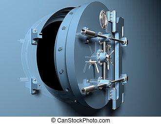 cámara acorazada, puerta, redondo, banco