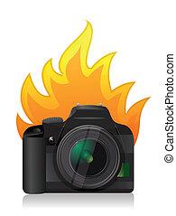cámara, ardiendo