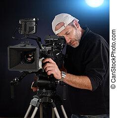 cámara, cámara, trabajando, cine