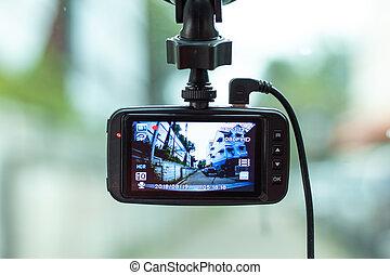 cámara, coche., frente