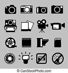 cámara, conjunto, vídeo, iconos