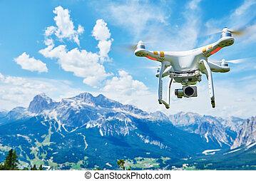 cámara, digital, quadrocopter, zángano