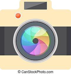cámara, fácil, imagen, -, plano, diseño, -, infographic, elemento