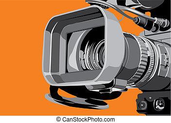 cámara fotográfica de la tv, en, estudio