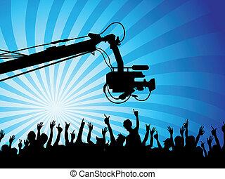 cámara fotográfica de la tv, multitudes