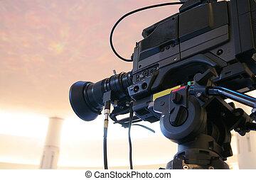 cámara fotográfica de la tv, vídeo