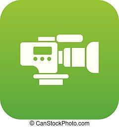 cámara fotográfica de la tv, verde, vector, icono