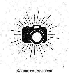 cámara fotográfica de la vendimia, rays., luz, etiqueta