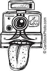 cámara, fotografía, concepto, sonriente