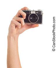 cámara, humano, llevar a cabo la mano