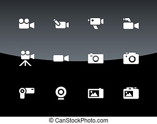 cámara, iconos, fondo., negro