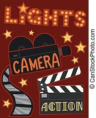 cámara, ilustración, luces, acción