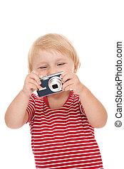cámara, niño joven