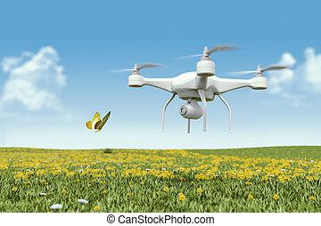 cámara, quadrocopter, zángano