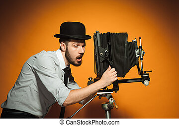 cámara,  Retro, hombre, joven