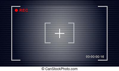 cámara, símbolo, vector, vídeo