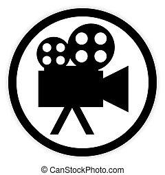 cámara, vídeo, button.