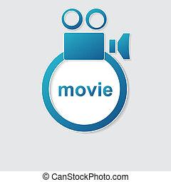 cámara, vídeo, icono