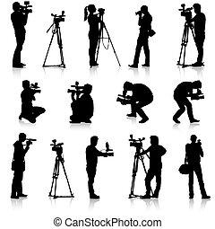 cámara, ve, fondo., siluetas, vídeo, cámara., blanco