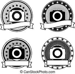 cámara, vector, conjunto, insignias