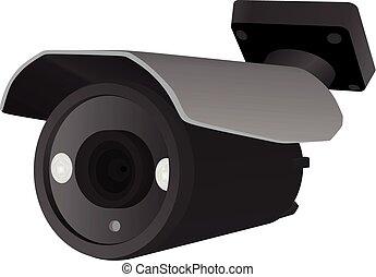 cámara, vector, vigilancia