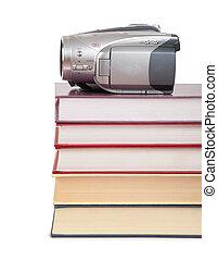 cámara video, en, libros