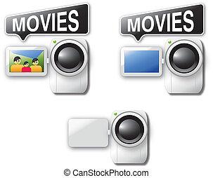 cámara video, iconos