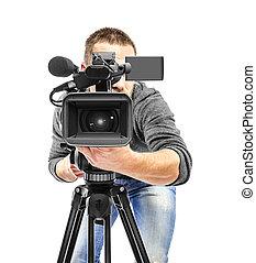 cámara video, operador, filmed.