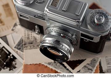cámara, y, viejo, fotos, cierre, arriba.