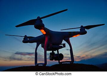 cámara, zángano, ocaso, digital, quadrocopter