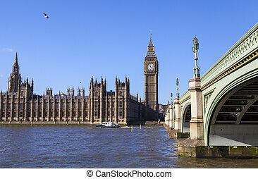 cámaras del parlamento, y, puente de westminster